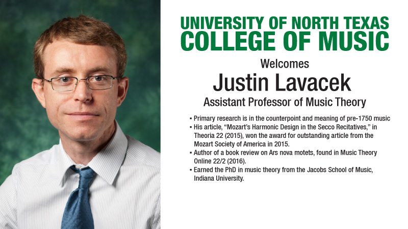 Justin Lavacek welcomed as Assistant Professor of Music Theory