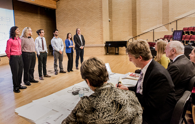 UNT ENtrepreneurship competition - students presenting in front of competition judge panel