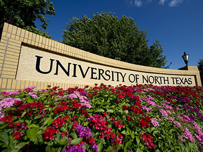 University of North Texas campus sign