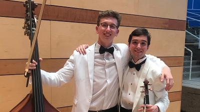 Harrison Dearman and Tomas de la Rosa posting at Aspen Music Festival