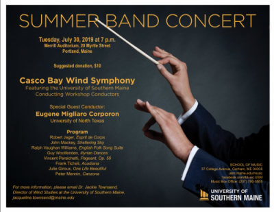 Information Poster advertising concert with conductor Corporon