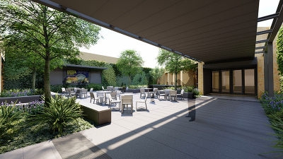 UNT College of music courtyard conceptual image - seating areas and greenary feature
