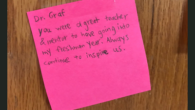 post-it note thanking Dr. Graf for freshmen theory instruction