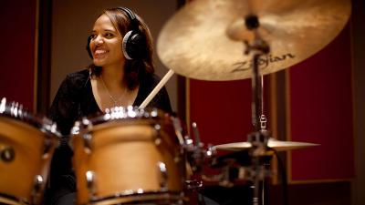 Terri Lyne Carrington performing on drumset