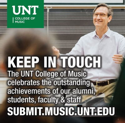 "Advertisement for ""Keep in Touch"" website submit.music.unt.edu"