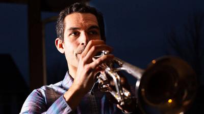 Marcus Flores playing Trumpet closeup