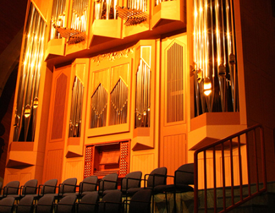 Organ above stage of Windspear Hall